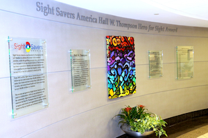 Sight Savers America wall at UAB, several glass plaques surround a painting